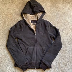 Abercrombie & Fitch brown fuzzy lined hoodie sz L